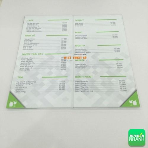 In menu gấp đôi PP cán format